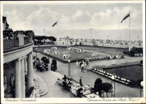 Ak Travemünde Lübeck Schleswig Holstein, Terrasse und Garten des Städtischen Kursaals