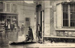 Ak Levallois Perret Hauts de Seine, Rue Gide, Rue des Freres Herbert, Hochwasser 1910