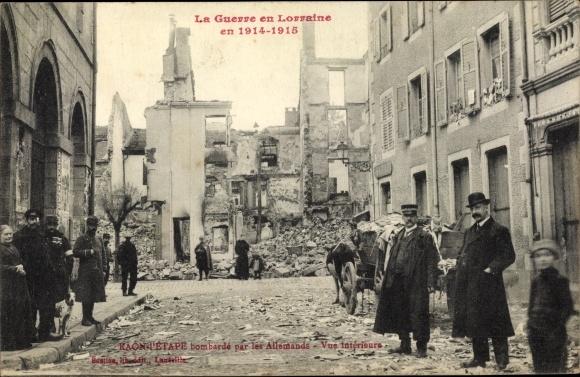 Ak Raon L'Etape Vosges, bombarde par les Allemands, Vue interieure, Kriegszerstörungen, I. WK