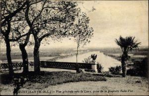Ak Montjean Maine et Loire, vue générale vers la Loire, prise de la propriété Belle Vue