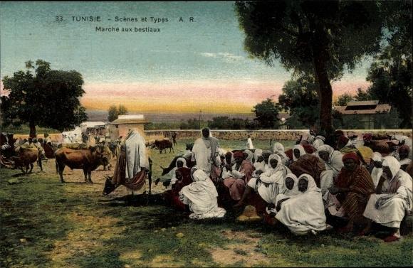 Ak Tunesien, Scenes et Types, Marche aux bestiaux, Viehmarkt, Araber, Maghreb