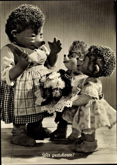 Ak Glückwunsch Geburtstag, Mecki der Igel, Wir gratulieren, Kinder, Mutter, Blumenstrauß