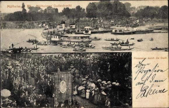 Ak Mülheim Köln Nordrhein Westfalen, Prozession durch die Stadt, Mülheimer Gottestracht