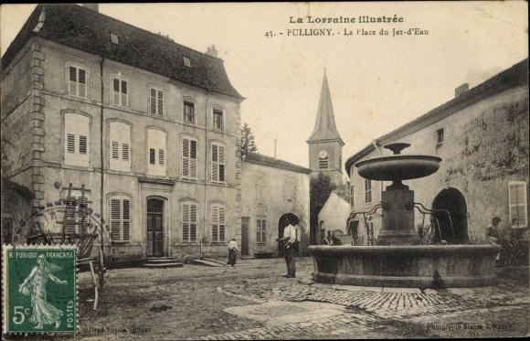 Ak Pulligny Lothringen Meurthe et Moselle, La Place du Jet d'Eau