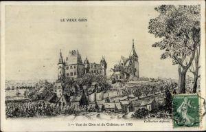 Künstler Ak Gien Loiret, Vue de Gien et du Chateau en 1500