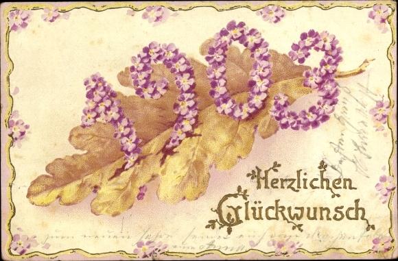 Präge Litho Glückwunsch Neujahr, Jahreszahl 1903, Blüten, Eichenblatt