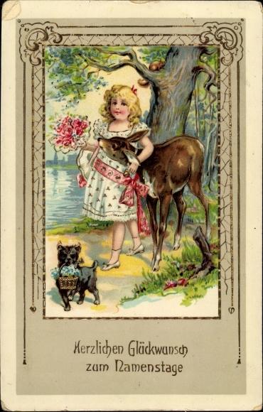 Präge Litho Glückwunsch Namenstag, Mädchen, Reh, Hund, Blumen