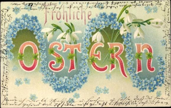 Präge Litho Glückwunsch Ostern, Schneeglöckchen, Vergissmeinnichtblüten