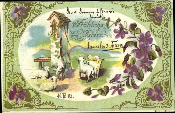 Präge Litho Glückwunsch Ostern, Lämmer, Glocken, Veilchen