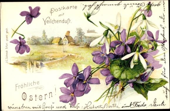 Litho Glückwunsch Ostern, Veilchen, Schneeglöckchen, Haus