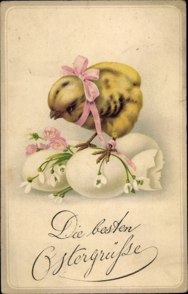 Ak Glückwunsch Ostern, Küken, Ostereier, Schneeglöckchen