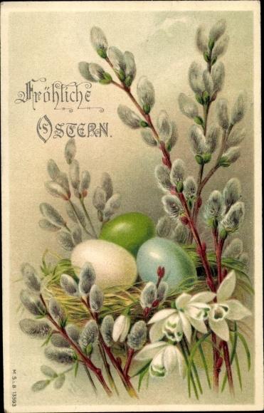Litho Glückwunsch Ostern, Weidenkätzchen, Nest mit Ostereiern, Schneeglöckchen