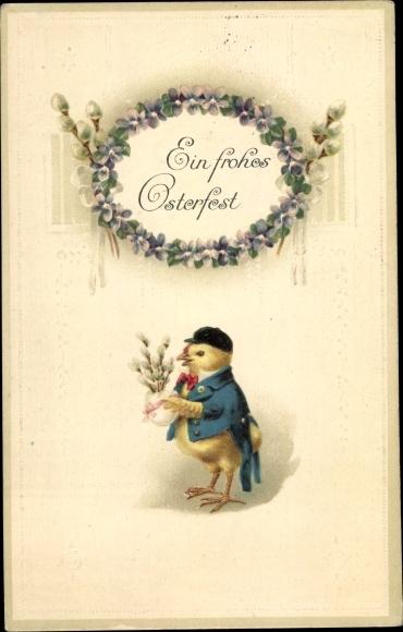 Präge Litho Glückwunsch Ostern, Küken, Weidenkätzchen, Veilchen