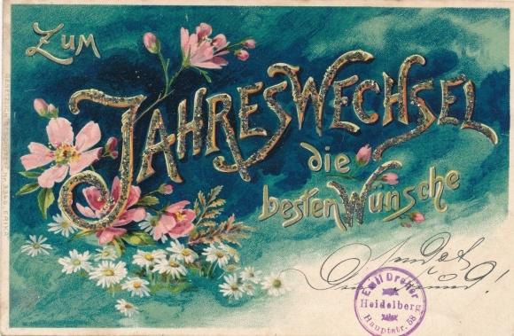 Glitzer Litho Glückwunsch Neujahr, Blumen, Gänseblümchen