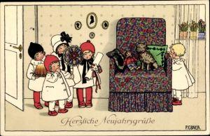 Künstler Ak Ebner, Pauli, Glückwunsch Neujahr, Kinder, Blumen, Kuchen, Hund auf Sessel