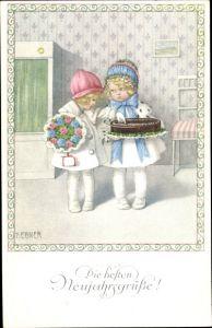 Künstler Ak Ebner, Pauli, Glückwunsch Neujahr, Kinder, Kuchen, Blumen, Geschenk
