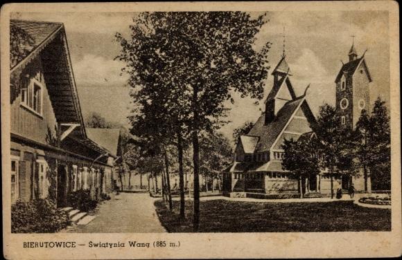 Ak Bierutowice Karpacz Krummhübel Riesengebirge Schlesien, Swiatynia Wang, Kirche Wang