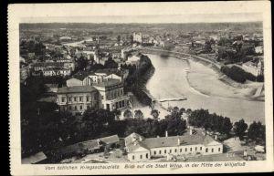 Ak Vilnius Wilna Litauen, Blick auf die Stadt und Wilijafluss