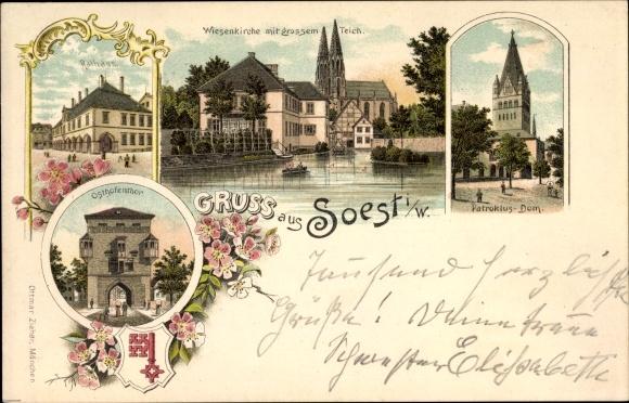 Wappen Litho Soest in Nordrhein Westfalen, Patroklus Dom, Wiesenkirche mit großem Teich, Zieher