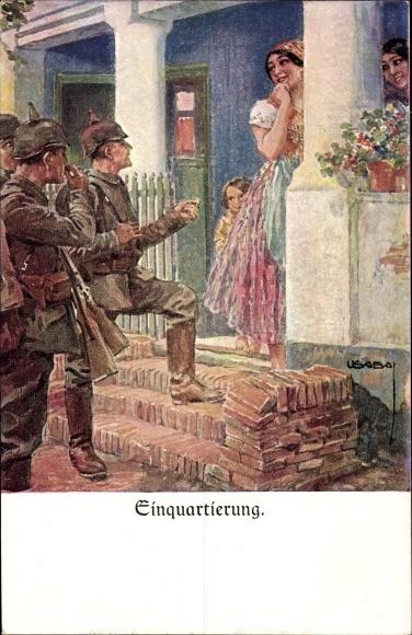 Künstler Ak Usabal, Luis, Einquartierung, Deutsche Soldaten vor einem Wohnhaus