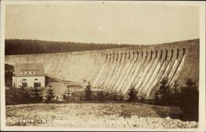Foto Ak Muldenberg Grünbach im Vogtland Sachsen, Blick zur Staumauer, Foto von Hans Weiß
