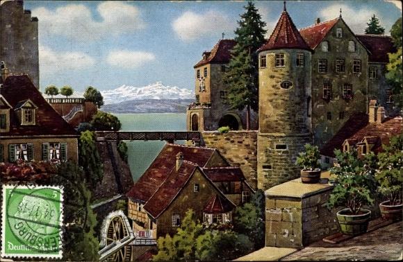 Künstler Ak Meersburg im Bodenseekreis Baden Württemberg, Schloss und alte Wassermühle