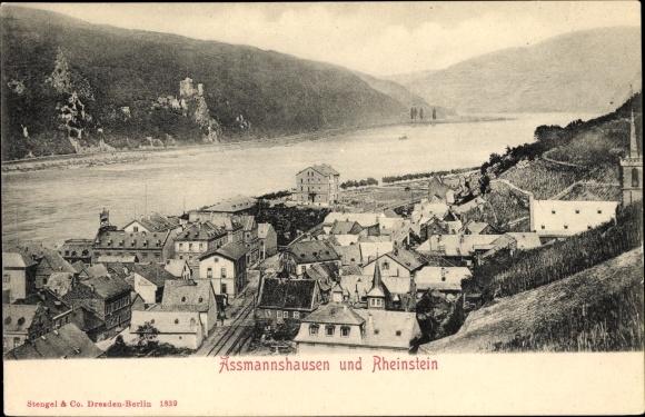Ak Assmannshausen Rüdesheim am Rhein, Blick auf den Ort und zur Burg Rheinstein, Stengel 1839