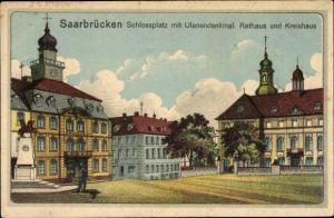 Künstler Ak Saarbrücken im Saarland, Schlossplatz mit Ulandendenkmal, Rathaus, Kreishaus