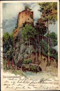 Künstler Litho Hoch, F., Wangenbourg Wangenburg Elsass Bas Rhin, Ansicht der Burg