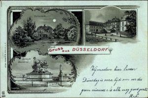 Mondschein Litho Düsseldorf am Rhein, Kunsthalle, Jägerhof, Kriegerdenkmal