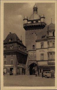 Ak Sélestat Schlettstadt Elsass Bas Rhin, Neuer Turm, Hotel Eblé, Straßenpartie