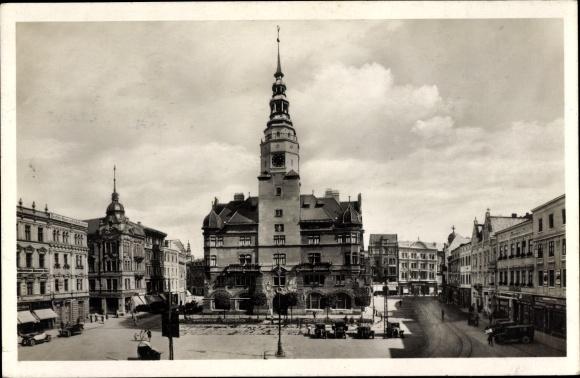 Ak Opava Troppau Reg. Mährisch Schlesien, Oberring, Rathaus