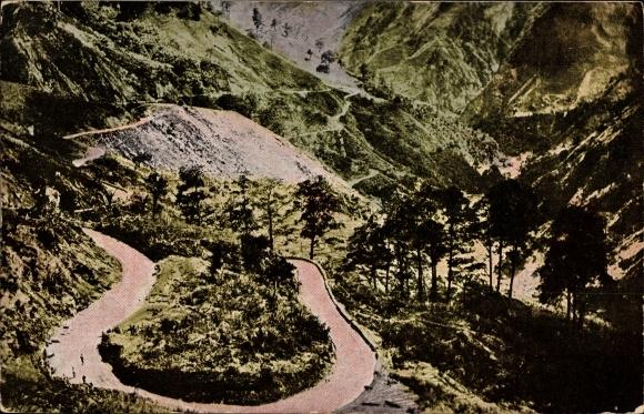 Ak Baguio Philippinen, Zig Zag, Blick auf eine Serpentinenstraße