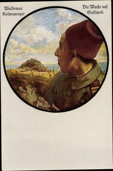 Künstler Ak Kolmsperger, Waldemar, Die Wacht auf Gallipoli, Türkischer Soldat