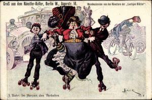 Künstler Ak Bahr, Berlin Mitte, Künstlerkeller, Jägerstr. 14, Frau und Männer auf Rollschuhen