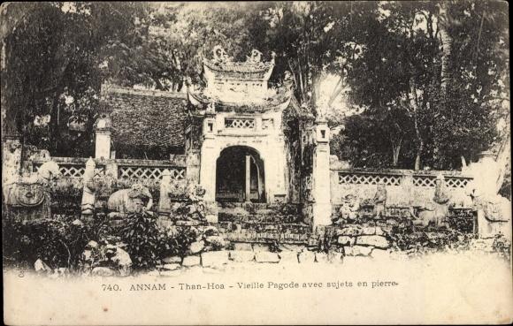 Ak Than Hoa Annam Vietnam, Vieille Pagode avec sujets en pierre