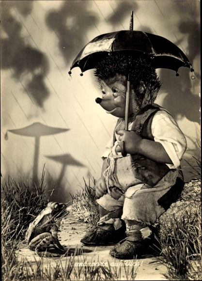 Ak Mecki der Igel, Regen, Frosch