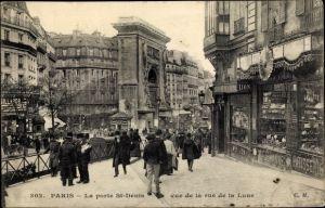 Ak Paris II. Arrondissement Bourse, La porte St. Denis, vue de la rue de la Lune