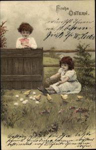 Litho Glückwunsch Ostern, Mädchen, Junge, Küken, Ostereier, Meissner Buch1303