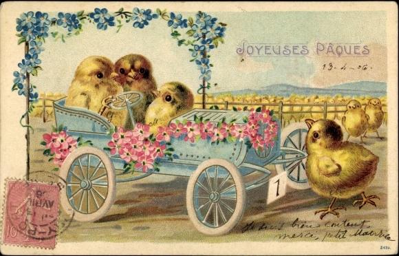 Präge Ak Glückwunsch Ostern, Küken, Automobil, Blumen