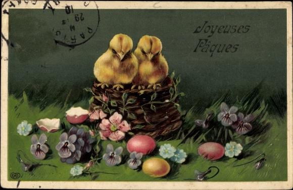 Präge Ak Glückwunsch Ostern, Küken, Ostereier, Blumen