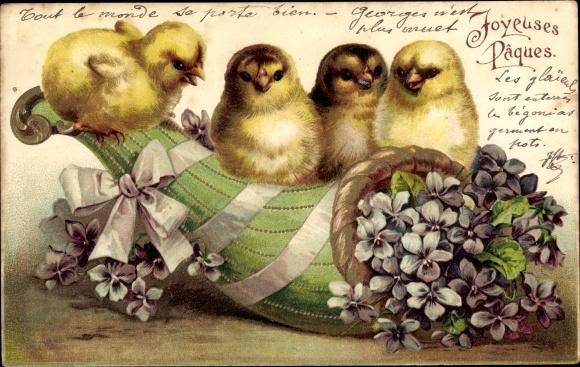 Präge Ak Glückwunsch Ostern, Küken, Füllhorn mit Veilchen