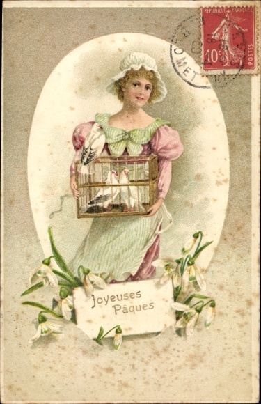 Präge Ak Glückwunsch Ostern, Osterei, Frau mit Tauben, Schneeglöckchen