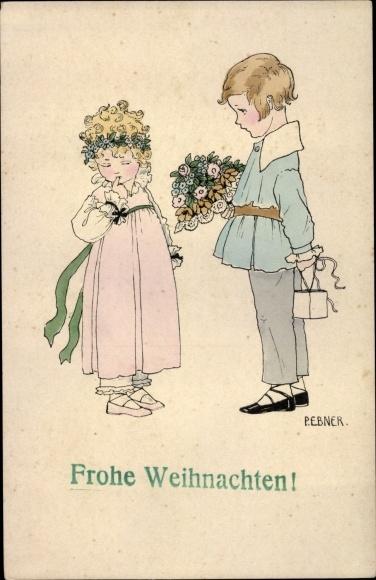 Künstler Ak Ebner, Pauli, Frohe Weihnachten, Kinder mit Blumen