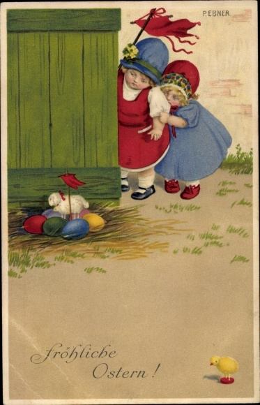 Künstler Ak Ebner, Pauli, Glückwunsch Ostern, Mädchen, Ostereier, Spielzeuglamm