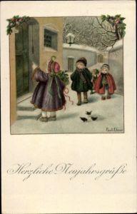 Künstler Ak Ebner, Pauli, Glückwunsch Neujahr, Kinder vor Haustür
