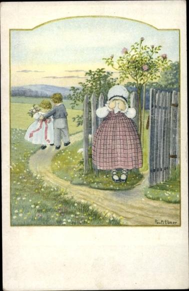 Künstler Ak Ebner, Pauli, Liebespaar, weinendes Mädchen am Zaun