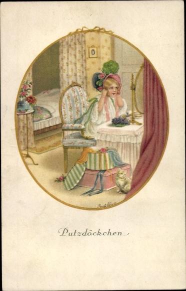 Künstler Ak Ebner, Pauli, Putzdöckchen, Mädchen vor dem Spiegel, Hut