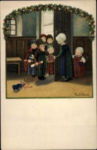 Künstler Ak Ebner, Pauli, Gratulierende Kinder, Blumen, Sektflasche