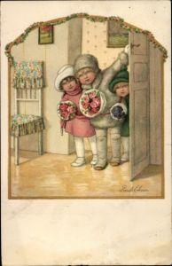 Künstler Ak Ebner, Pauli, Kinder mit Blumen an der Tür